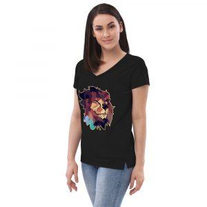Lion-X Women's recycled v-neck t-shirt